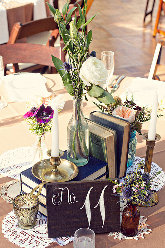 wood block table numbers and books