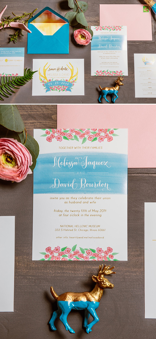 bright bold pink yellow and blue wedding stationery