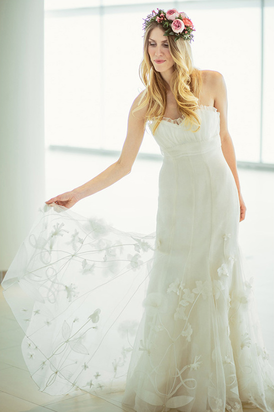 ivory wedding gown with floral detail