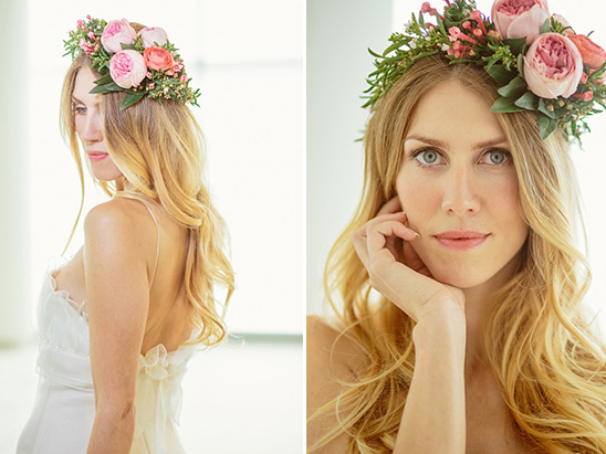 pink floral crown and soft curls wedding hair