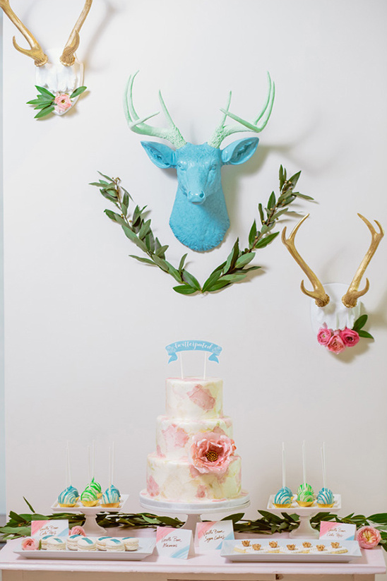 bright woodland spring dessert table