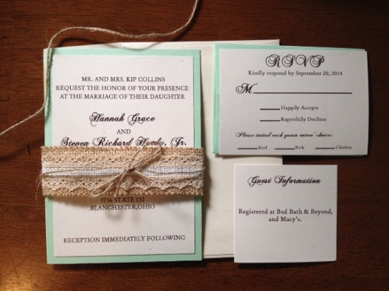 Mint Wedding with Burlap & Lace Belly Band