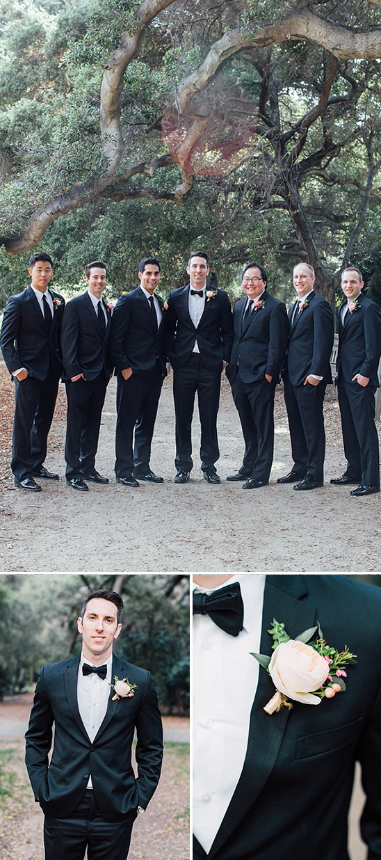 classic groomsmen attire with large bloom boutonnieres