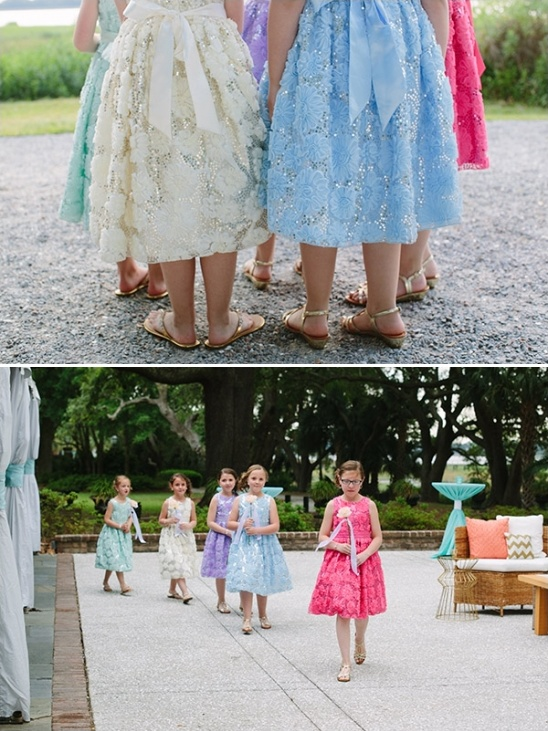 five differently colored flower girl looks.