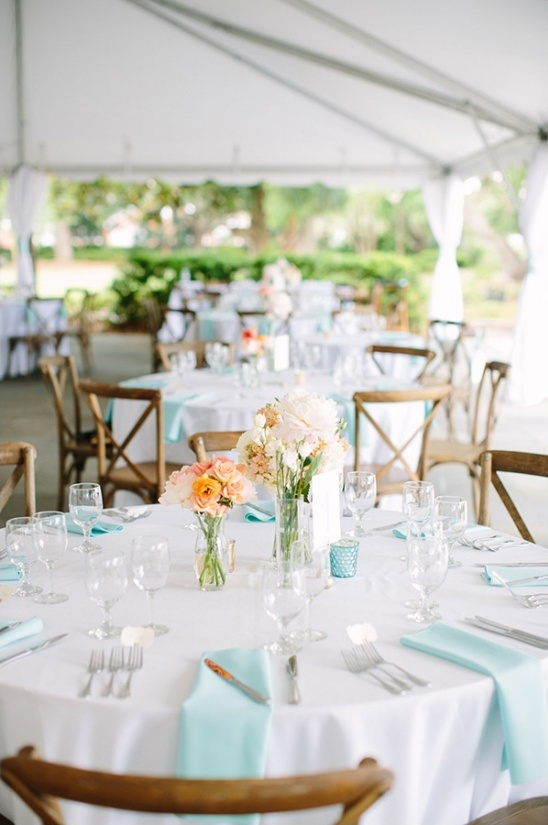 white and teal wedding reception