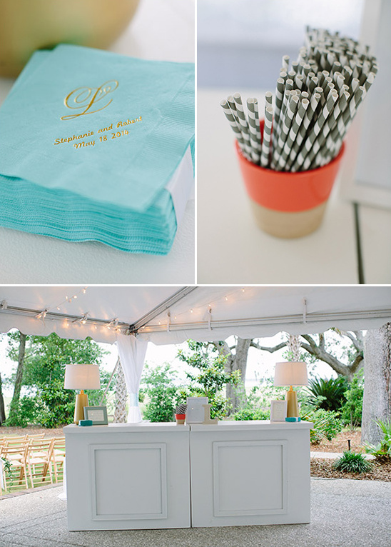 teal and gray wedding bar