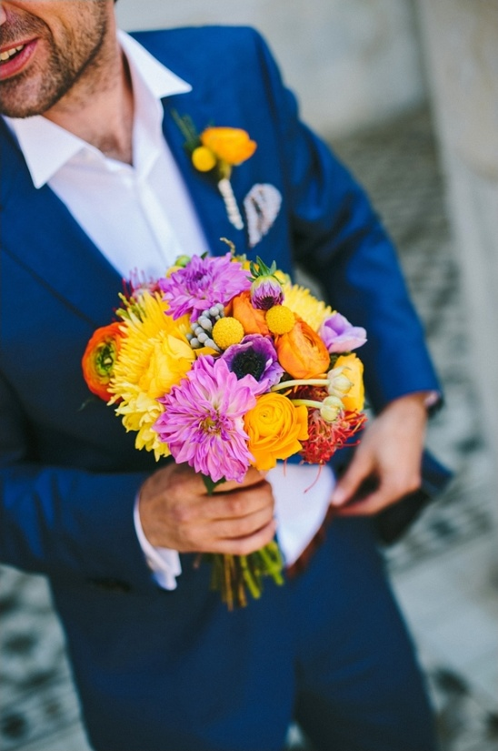 pink yellow and red wedding bouquet