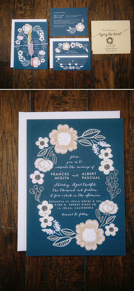 blue and pink floral wedding stationery