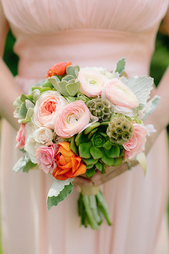 pink blooms and succulents bouquet