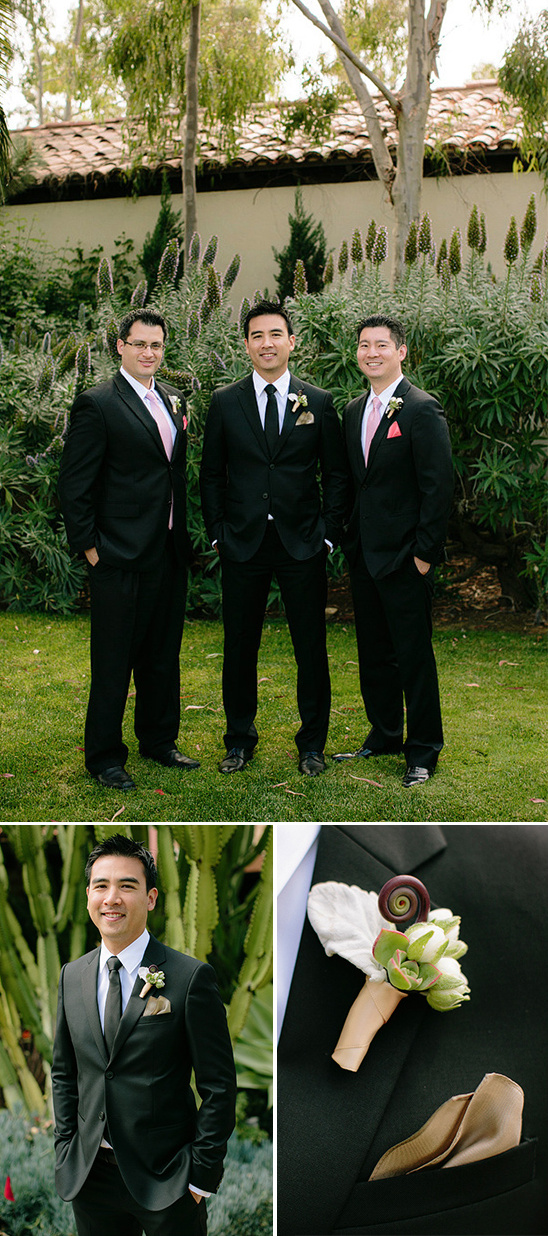 classic black groomsmen look with pink accents
