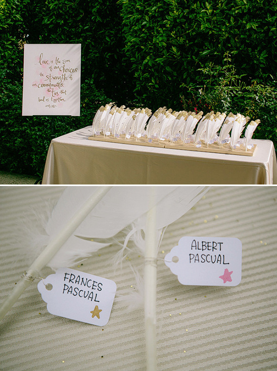 gold dipped feathers for escort cards
