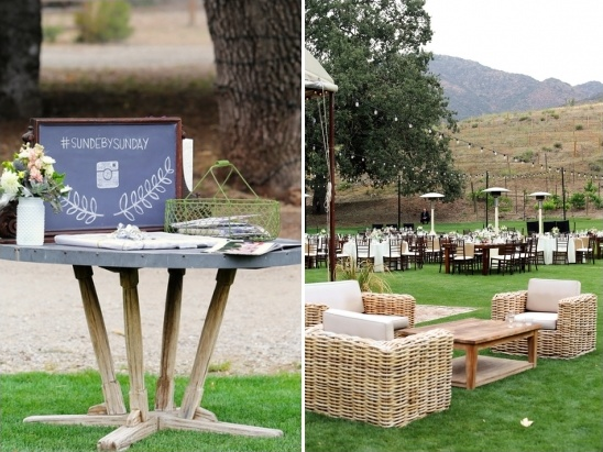 welcome table and outdoor reception area