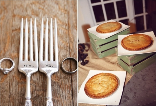 wedding forks and wedding pies