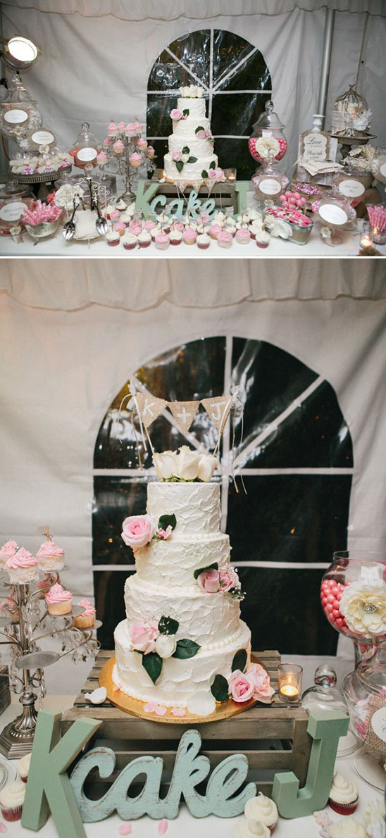 dessert table with gorgeous wedding cake
