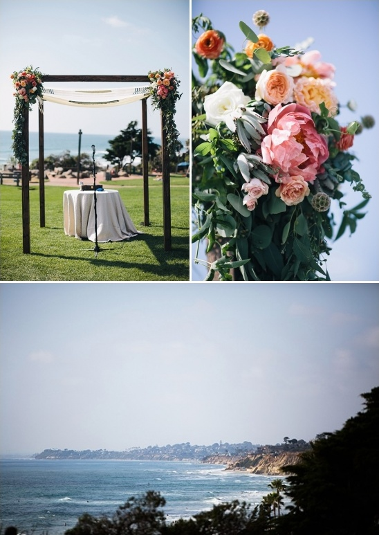 floral accented chuppah with an ocean view
