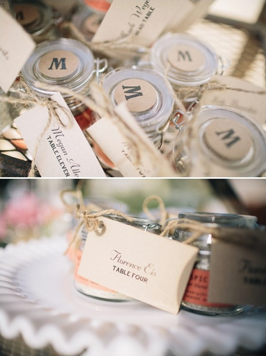 monogrammed wedding favors tied with escort cards