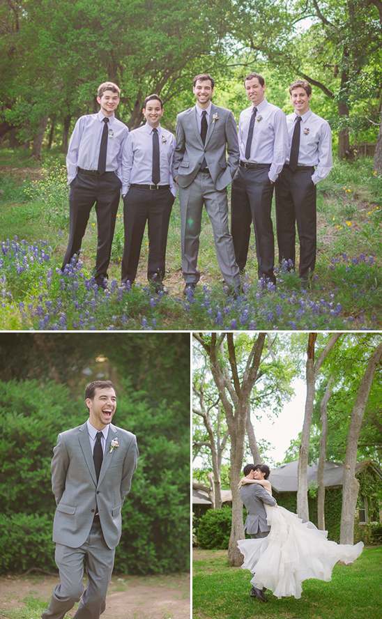 purple groomsmen and first wedding look
