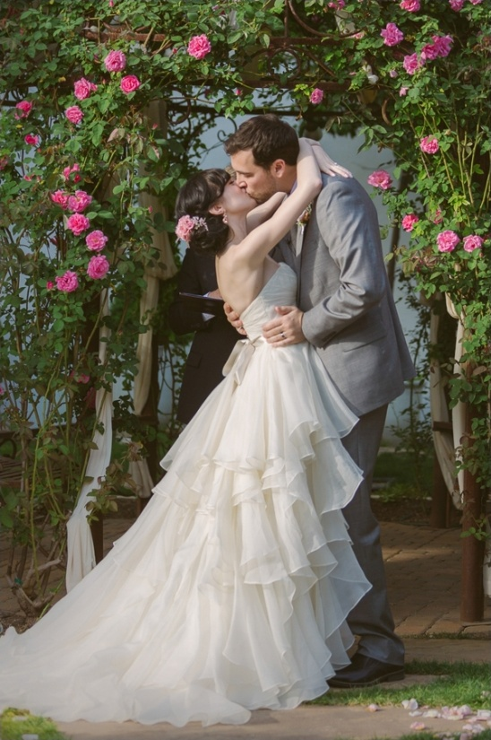 gorgeous ruffled Watters wedding dress