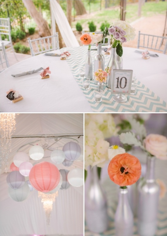 chevron table runners and paper lantern chandeliere