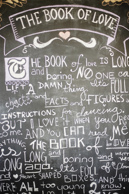 the book of love chalkboard sign