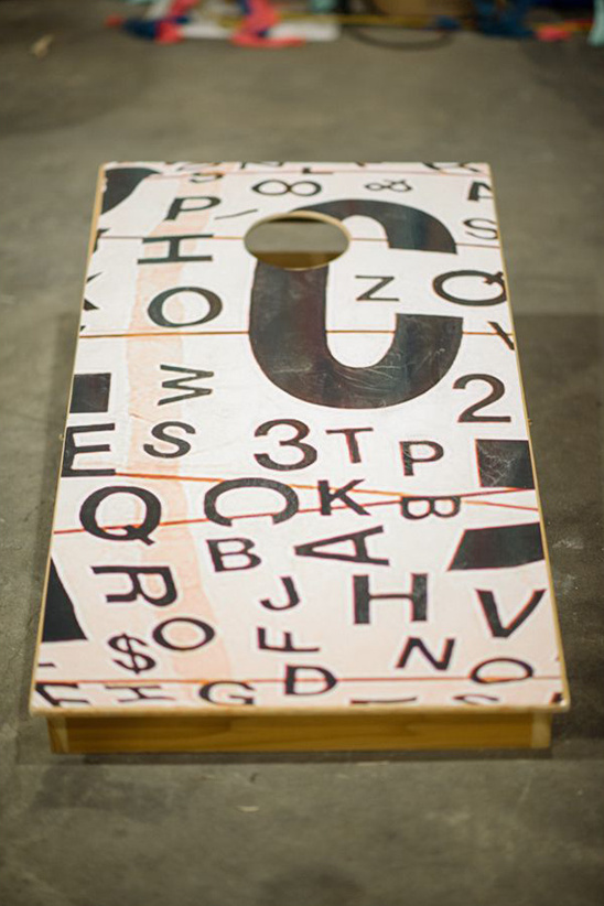 random numbers and letters cornhole board