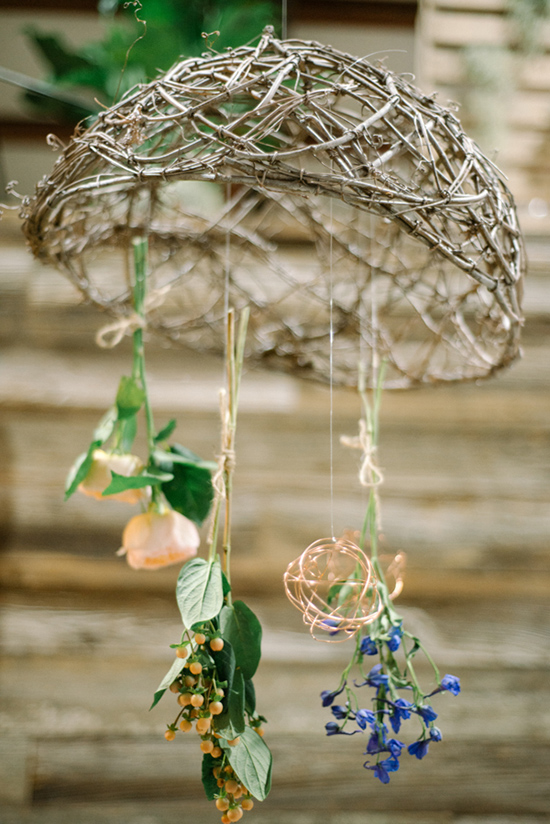 woven branches and floral chandelier