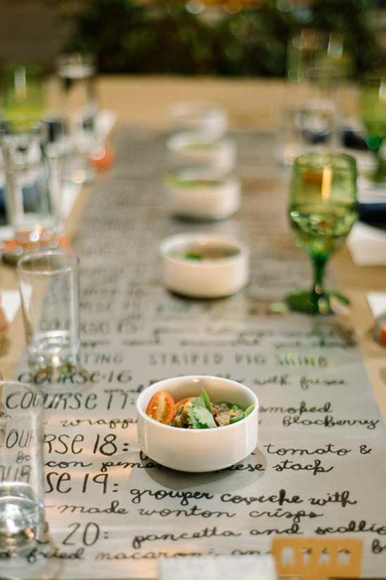 menu as a table runner