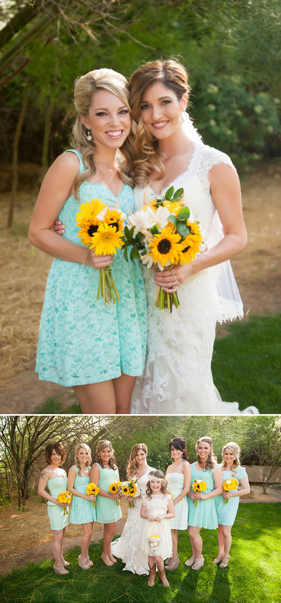 mint green bridesmaids with sunflowers