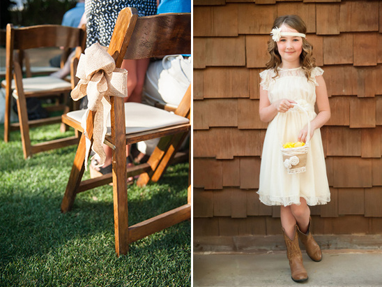 burlap aisle decor and cute little flower girl