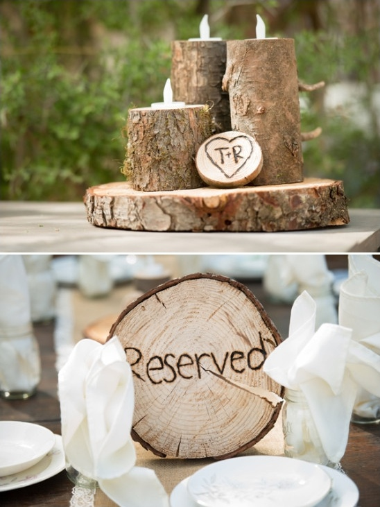 woodsy themed centerpieces and reserved sign