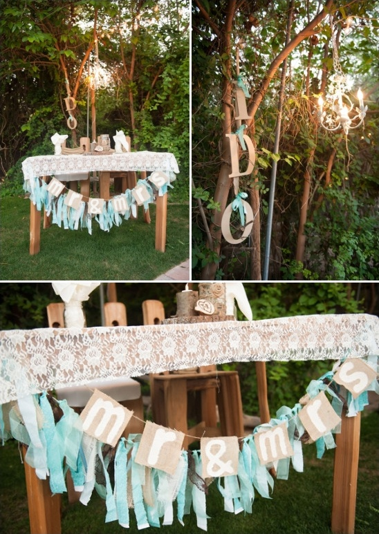sweetheart table with fun i ido sign and mr and mrs bunting