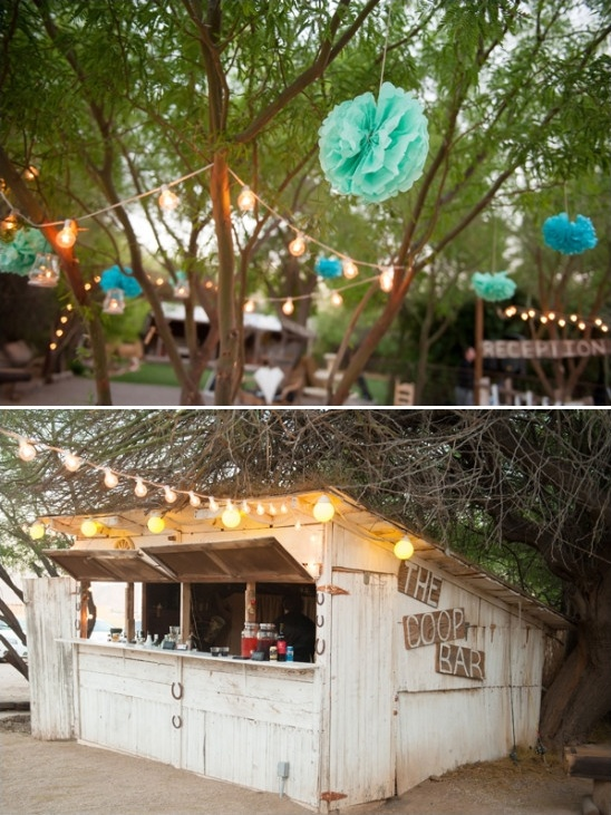 paper pom poms and chicken coop bar
