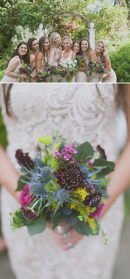lacey bridesmaid dresses with purple pink and yellow bouquets