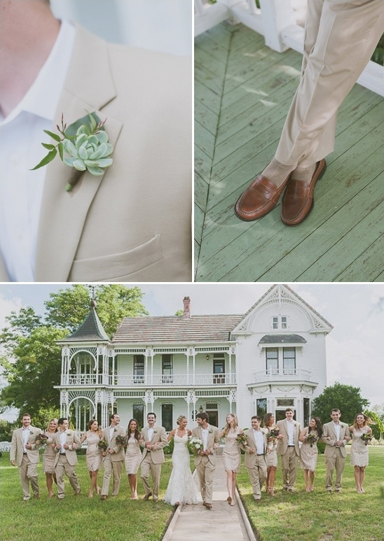 tan suit and succulent boutonniere groom look