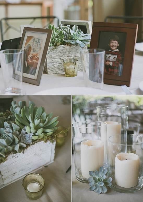 baby pictures displayed at each table with succulent flower boxes and candles