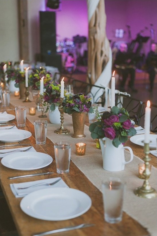 purple and gold centerpieces