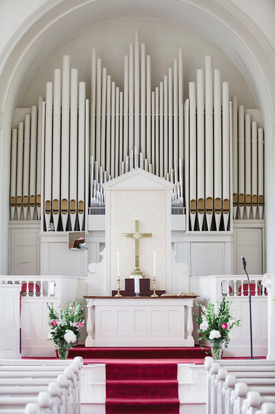 pretty red and white chapel