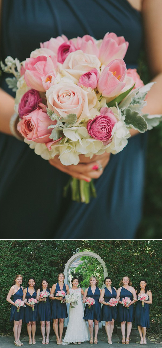 navy bridesmaids with pink bouquets