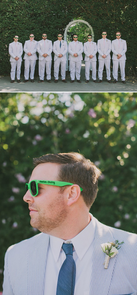pinstriped suit groomsmen with custom sunglasses