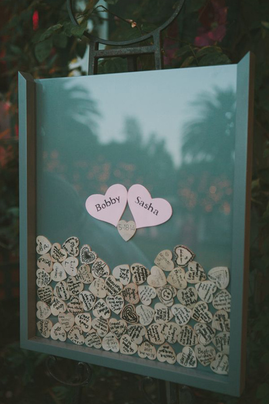 signed wooden heart guestbook