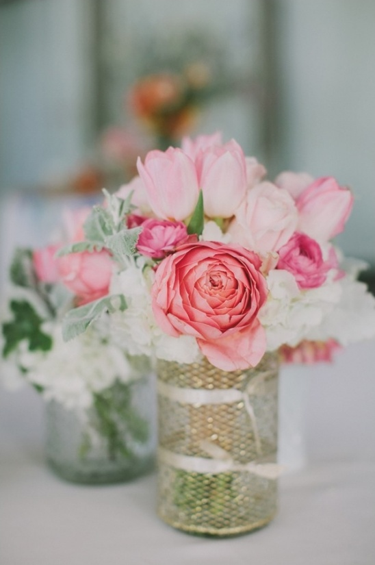 small pink floral arrangements