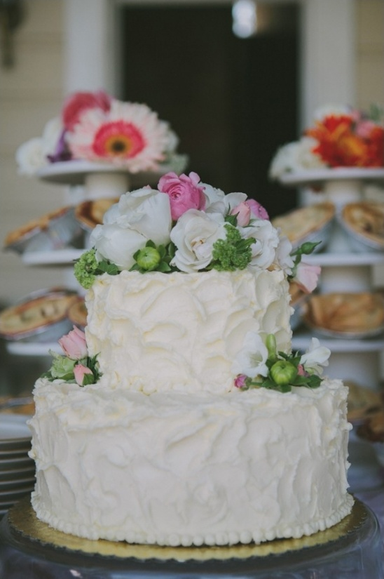 tasty looking floral topped wedding cake from Petaluma Pie Company