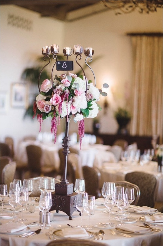 candelabra table number and centerpiece