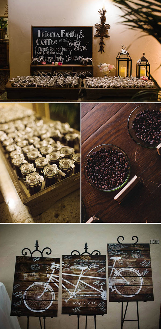 coffee wedding favors and tandem bike wooden panel guestbook idea