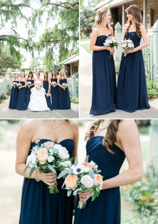 floor length navy bridesmaids