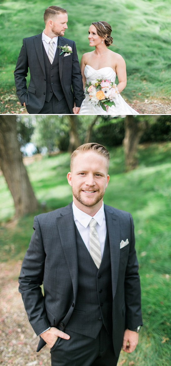 charcoal gray suit and champagne striped tie groom
