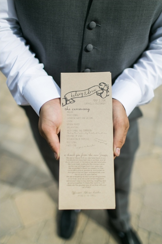brown paper wedding program