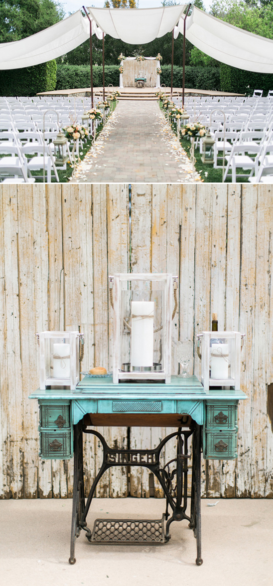 vintage sewing machine wedding backdrop piece