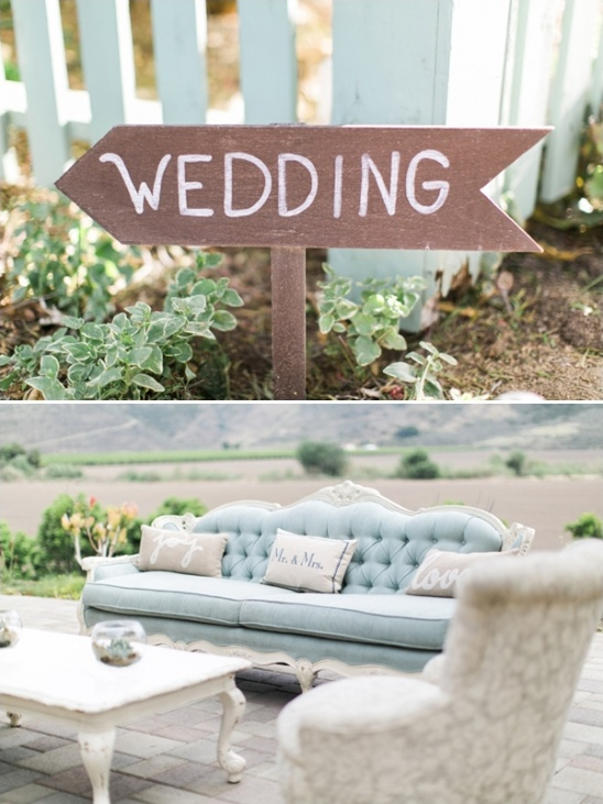 wedding sign and customized throw pillows