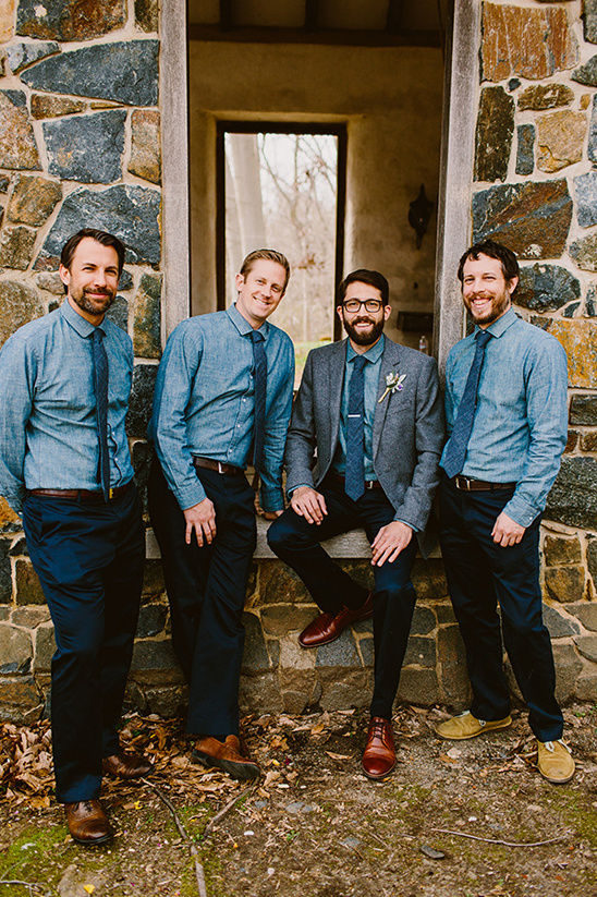 denim and navy groomsmen look